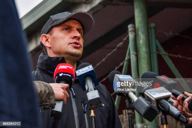Chris Waller speaks to the media ahead of the Cox Plate at Flemington Racecourse on October 26 2017 in Flemington Australia