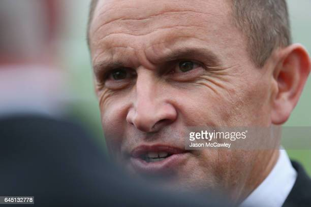 Chris Waller trainer of Winx speaks to the media after winning the Chipping Norton Stakes at Royal Randwick Racecourse on February 25 2017 in Sydney...