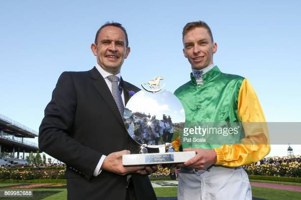 Chris Waller with Michael Dee after Shillelagh won the Kennedy Mile at Flemington Racecourse on November 04 2017 in Flemington Australia