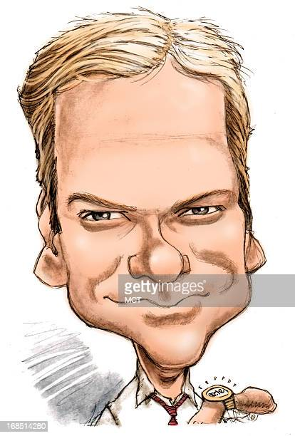 Chris Ware color caricature of actor Keifer Sutherland