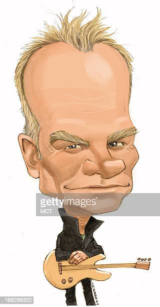 Chris Ware color caricature of musician/entertainer Sting
