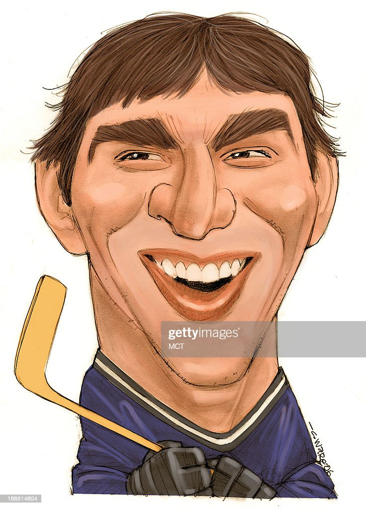 Chris Ware color caricature of NHL rookie Alexander Ovechkin (Washington Capitals and member of 2006 Russian Olympic hockey team).
