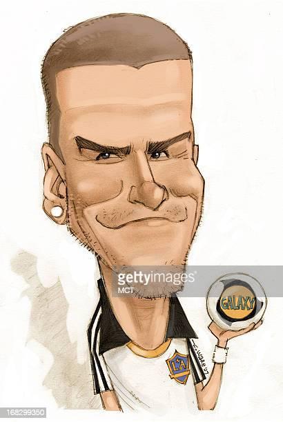 Chris Ware color caricature of soccer player David Beckham