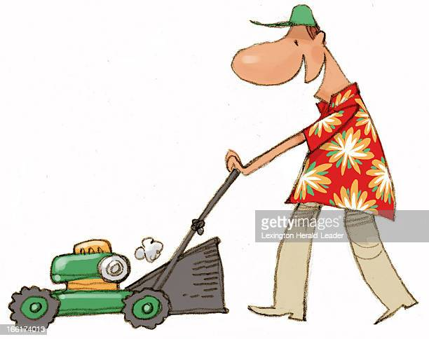 Chris Ware color illustration of a man in a flowered Hawaiian shirt mowing the lawn