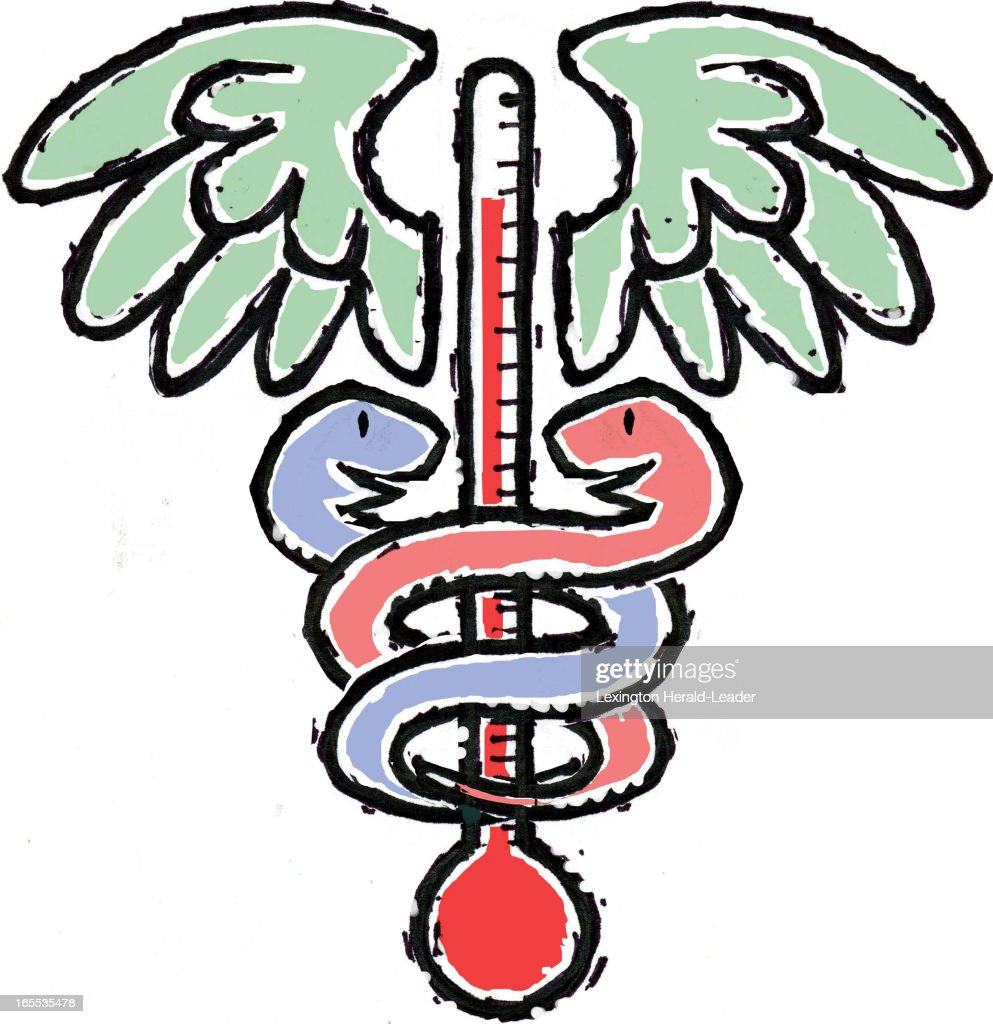 Chris Ware color illustration of caduceus with red and blue snakes spiraling around a thermometer