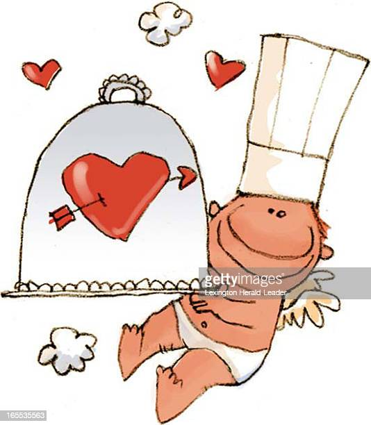 Chris Ware color illustration of cupid as a chef holding covereddish decorated with pierced heart Can be used with stories about Valentine's Day...