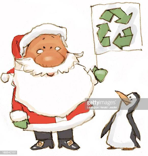 Chris Ware color illustration of Santa holding up environmentallyfriendly recycle flag with happy penguin looking on