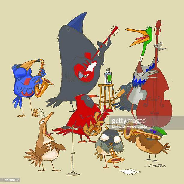 Chris Ware illustration of a bird symphony bluebird with saxophone cardinal with guitar chickadee with trumpet crows with guitar and trombone mallard...