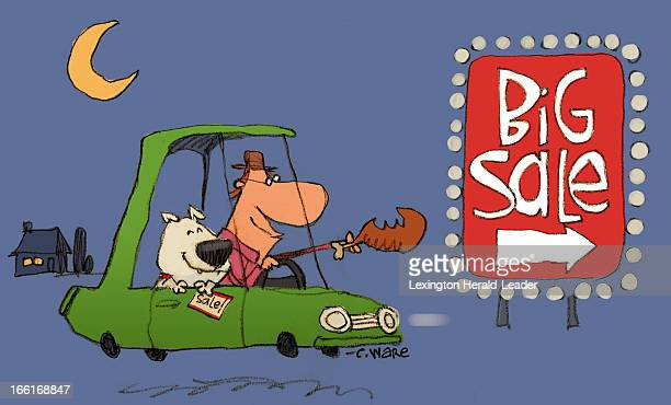 Chris Ware illustration of a man holding a turkey leg driving a car late at night with his dog in tow and heading toward a big Black Friday sale can...