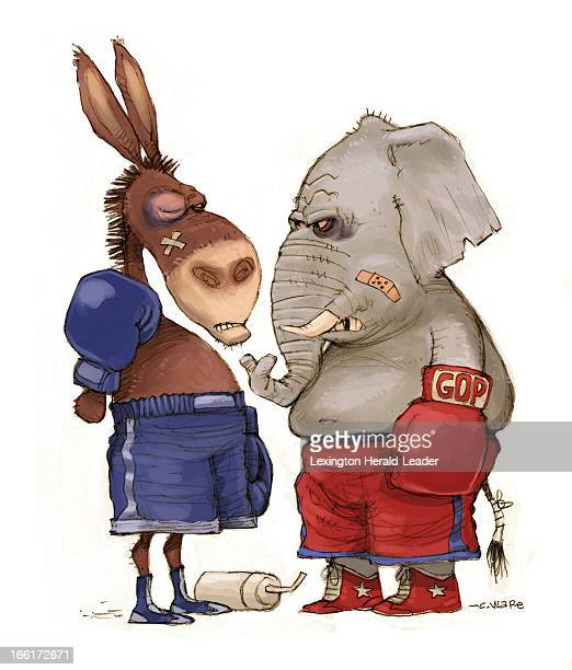 Chris Ware illustration of battered donkey and elephant in boxing gloves can be used with stories about US election