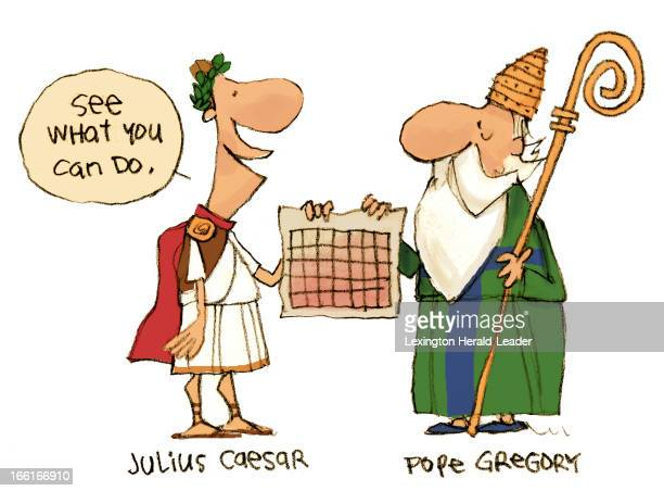 Chris Ware illustration of Julius Caesar handing a calendar to Pope Gregory and saying 'See what you can do' can be used with stories about leap year