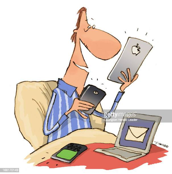 Chris Ware illustration of man in bed using iPad Kindle cellphone computer can be used with stories about tech addicts