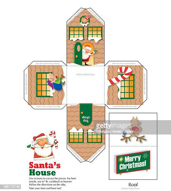 Chris Ware papercraft illustration of Santa Claus house published illustration can be cut folded to form Santa Claus house