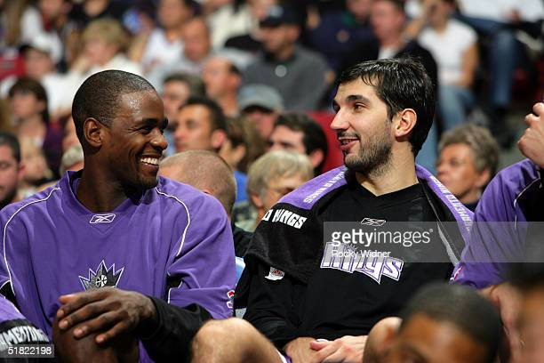 Chris Webber and Peja Stojakovic of the Sacramento Kings share a smile during the game as the Kings defeat the Indiana Pacers on December 3 at Arco...