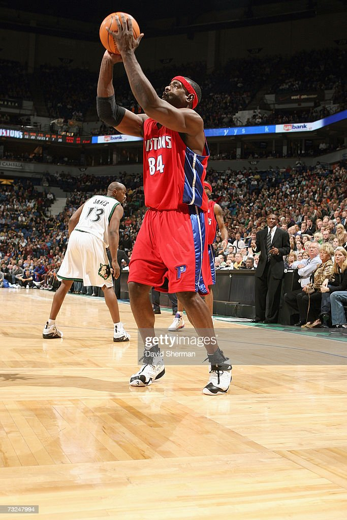 Chris Webber #84 of the Detroit Pistons holds the ball against the Minnesota Timberwolves during the game at Target Center on January 19, 2007 in Minneapolis, Minnesota. The Pistons won 104-98.
