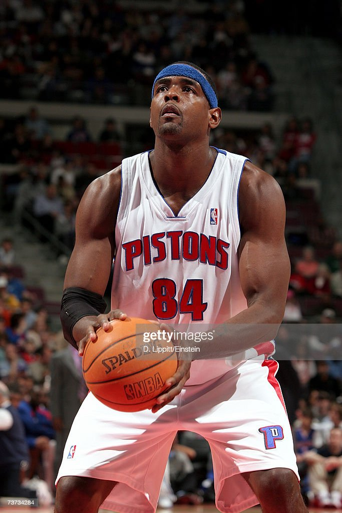 Chris Webber #84 of the Detroit Pistons prepares to shoot during the game against the Dallas Mavericks at The Palace of Auburn Hills on March 18, 2007 in Auburn Hills, Michigan. The Mavericks won 92-88.