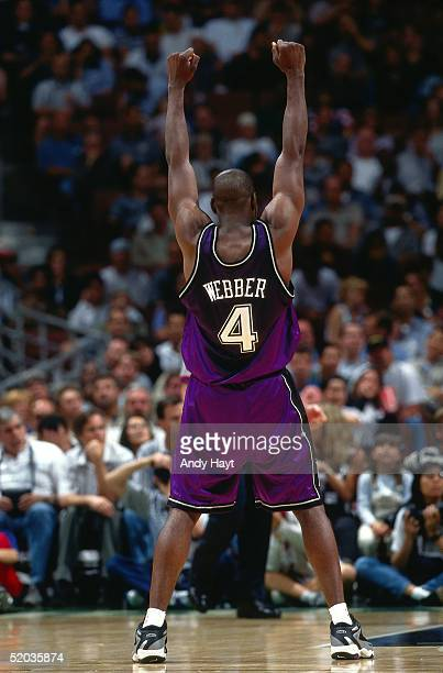 Chris Webber of the Sacramento Kings celebrates during an NBA game against the Los Angeles Clippers on April 19 1999 in Los Angeles California NOTE...