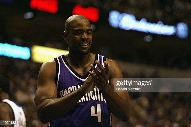 Chris Webber of the Sacramento Kings claps in Game two of the Western Conference Semifinals against the Dallas Mavericks during the 2003 NBA Playoffs...