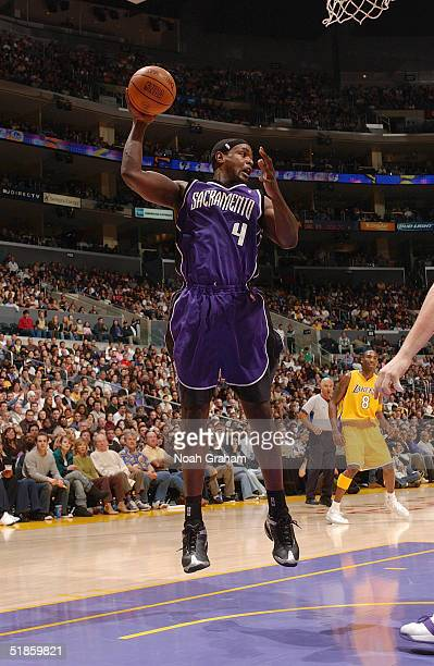 Chris Webber of the Sacramento Kings grabs a rebound during the game against the Los Angeles Lakers d at Staples Center on November 26 2004 in Los...