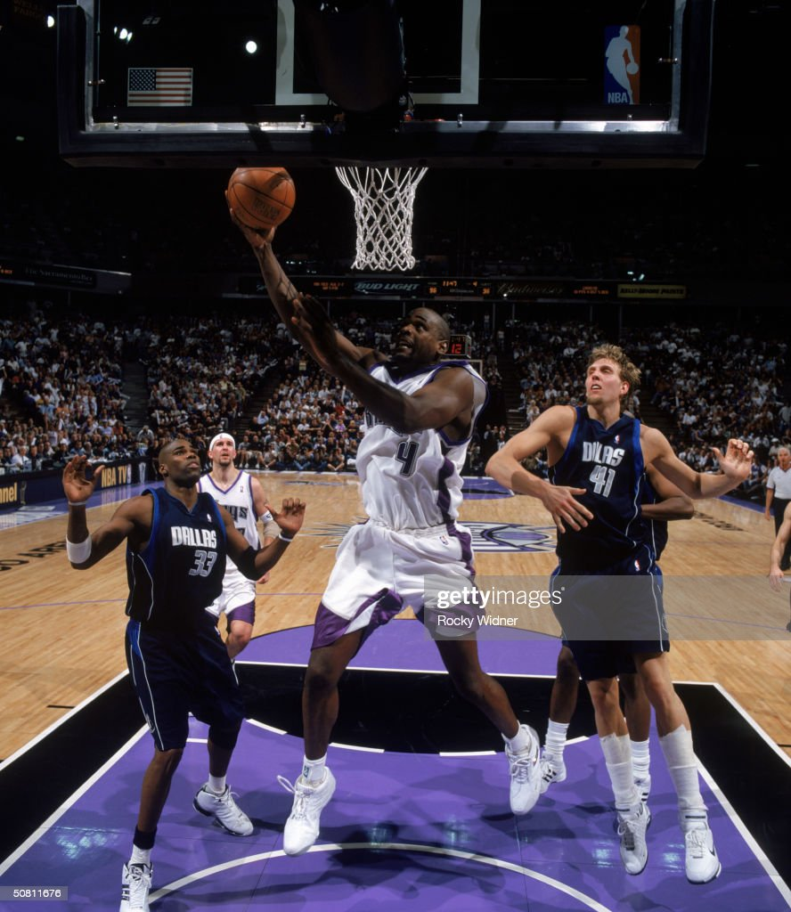 Chris Webber of the Sacramento Kings lays the ball up during Game five of the Western Conference Quarterfinals of the 2004 NBA Playoffs against the...
