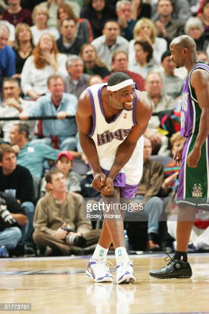 Chris Webber of the Sacramento Kings reacts to a missed play against the Milwaukee Bucks during the game on November 21 at Arco Arena in Sacramento...
