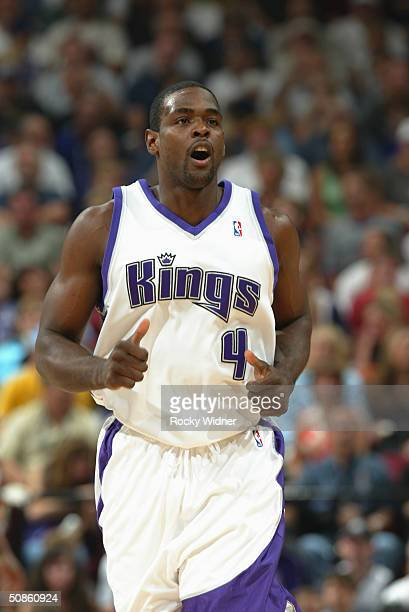 Chris Webber of the Sacramento Kings runs upcourt in Game six of the Western Conference Semifinals during the 2004 NBA Playoffs against the Minnesota...