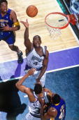 Chris Webber of the Sacramento Kings shoots a layup against the Los Angeles Lakers in Game Four of the Western Conference Quarterfinals during the...