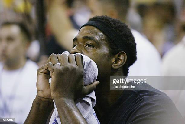 Chris Webber of the Sacramento Kings sits on the bench in Game seven of the Western Conference Finals against the Los Angeles Lakers during the 2002...