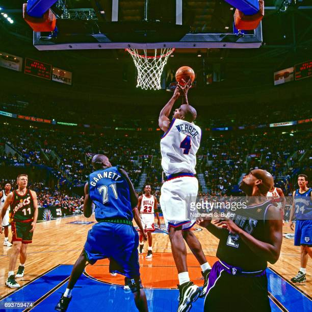 Chris Webber of the Washington Bullets goes up for a shot during the 1997 NBA AllStar Game played on February 9 1997 at Gund Arena in Cleveland Ohio...