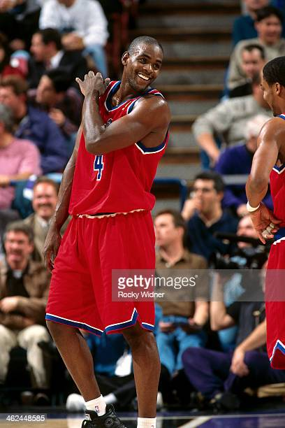 Chris Webber of the Washington Bullets smiles against the Sacramento Kings during a game played on December 16 1996 at Arco Arena in Sacramento...