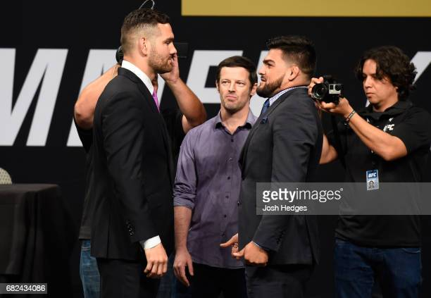 Chris Weidman and Kelvin Gastelum face off during the UFC Summer Kickoff Press Conference at the American Airlines Center on May 12 2017 in Dallas...
