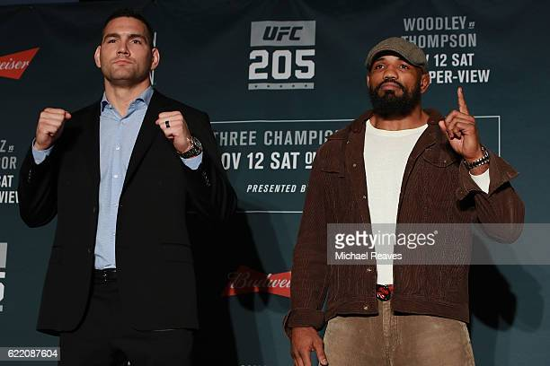 Chris Weidman and Yoel Romero of Cuba pose for a photo during the UFC 205 Ultimate Media Day at The Theater at Madison Square Garden on November 9...
