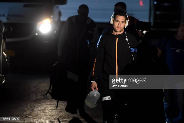 Chris Weidman arrives backstage during the UFC 210 event at the KeyBank Center on April 8 2017 in Buffalo New York