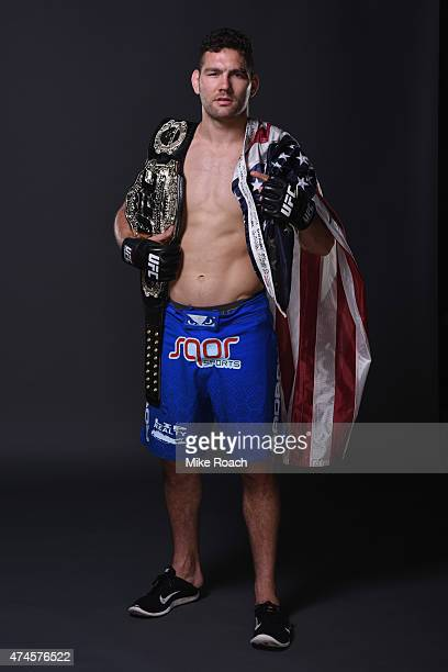 Chris Weidman poses for a postfight portrait backstage during the UFC 187 event at the MGM Grand Garden Arena on May 23 2015 in Las Vegas Nevada