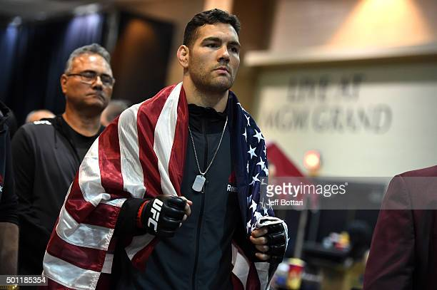 Chris Weidman prepares to walkout before facing Luke Rockhold during the UFC 194 event inside MGM Grand Garden Arena on December 12 2015 in Las Vegas...