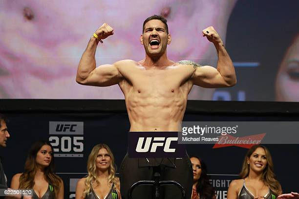 Chris Weidman reacts during UFC 205 Weighins at Madison Square Garden on November 11 2016 in New York City