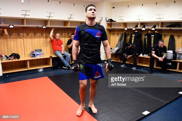 Chris Weidman warms up backstage during the UFC 210 event at the KeyBank Center on April 8 2017 in Buffalo New York