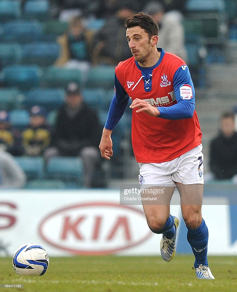Chris Whelpdale of Gillingham attacks during the npower League Two match between Gillingham and Accrington Stanley at The Priestfield Stadium on March 23, 2013 in Gillingham, England.