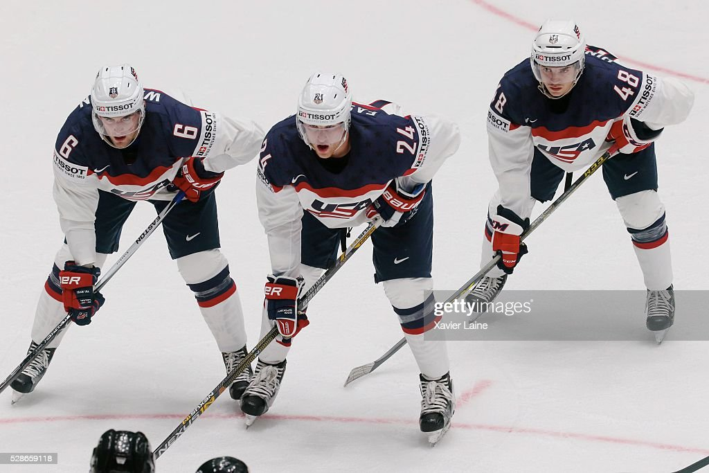 Chris Wideman, Hudson Fasching and Vince Hinostroza of USA during the 2016 IIHF World Championship between USA and Canada at Yubileyny Sports Palace ,on May 6, 2016 in Saint Petersburg, Russia.