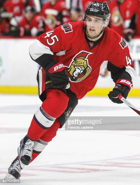 Chris Wideman of the Ottawa Senators plays in the game against the St Louis Blues at Canadian Tire Centre on March 1 2016 in Ottawa Ontario Canada