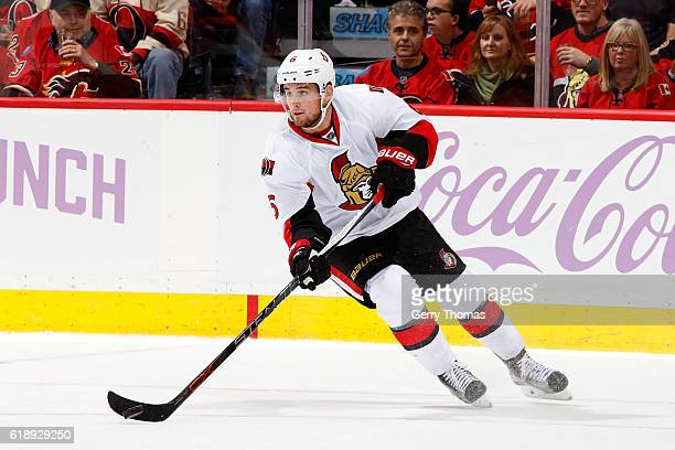 Chris Wideman of the Ottawa Senators skates against the Calgary Flames during an NHL game on October 28 2016 at the Scotiabank Saddledome in Calgary...
