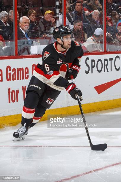 Chris Wideman of the Ottawa Senators skates with the puck against the Colorado Avalanche during an NHL game at Canadian Tire Centre on March 2 2017...