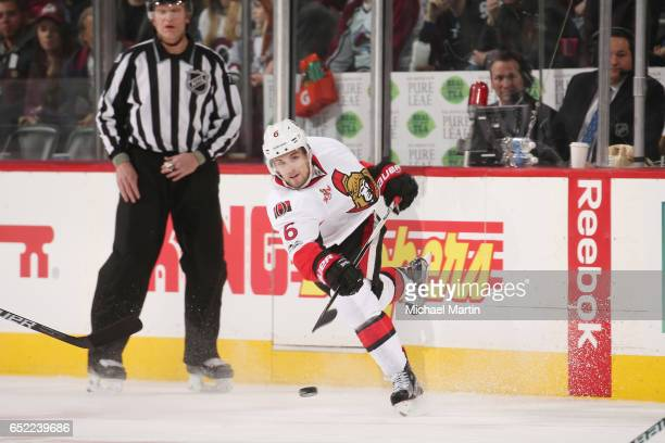 Chris Wideman of the Ottawa Senators takes a shot against the Colorado Avalanche at the Pepsi Center on March 11 2017 in Denver Colorado