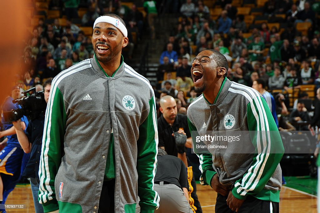 Chris Wilcox #44 and Jordan Crawford #27 of the Boston Celtics share a laugh during warm ups prior to the game against the Golden State Warriors on March 1, 2013 at the TD Garden in Boston, Massachusetts.