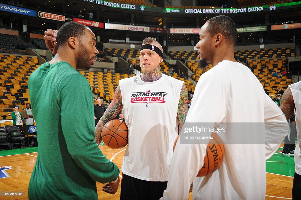 Chris Wilcox #44 of the Boston Celtics and Chris Andersen #11 and Rashard Lewis #9 of the Miami Heat talk before the game on January 27, 2013 at the TD Garden in Boston, Massachusetts.