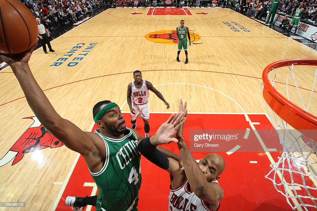 Chris Wilcox #44 of the Boston Celtics attempts a dunk against Taj Gibson #22 of the Chicago Bulls during the NBA game on November 12, 2012 at the United Center in Chicago, Illinois.