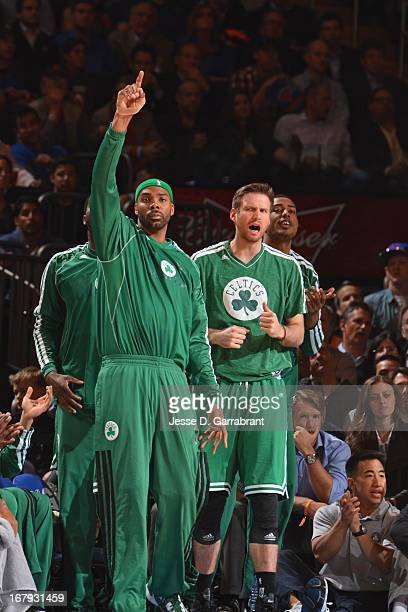 Chris Wilcox of the Boston Celtics celebrates during Game Five of the 2013 NBA Playoffs against the New York Knicks on May 1 2013 at Madison Square...