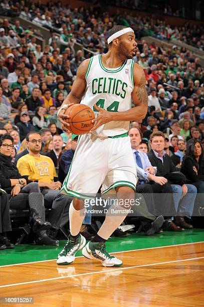 Chris Wilcox of the Boston Celtics controls the ball against the Los Angeles Lakers on February 7 2013 at the TD Garden in Boston Massachusetts NOTE...