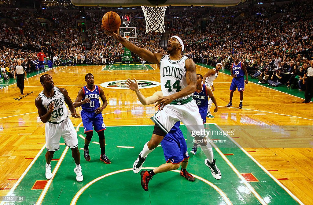Chris Wilcox #44 of the Boston Celtics drives to the basket for a layup against the Philadelphia 76ers during the game on December 8, 2012 at TD Garden in Boston, Massachusetts.
