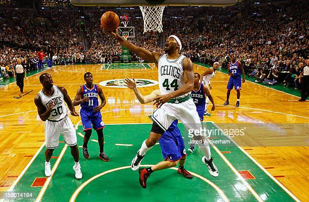 Chris Wilcox of the Boston Celtics drives to the basket for a layup against the Philadelphia 76ers during the game on December 8 2012 at TD Garden in...